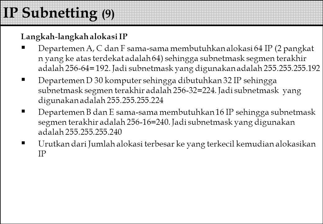 Langkah-langkah alokasi IP  Departemen A, C dan F sama-sama membutuhkan alokasi 64 IP (2 pangkat n yang ke atas terdekat adalah 64) sehingga subnetma