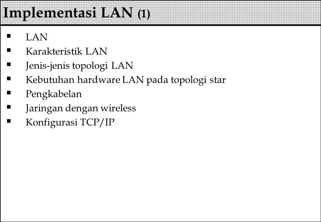  LAN  Karakteristik LAN  Jenis-jenis topologi LAN  Kebutuhan hardware LAN pada topologi star  Pengkabelan  Jaringan dengan wireless  Konfiguras