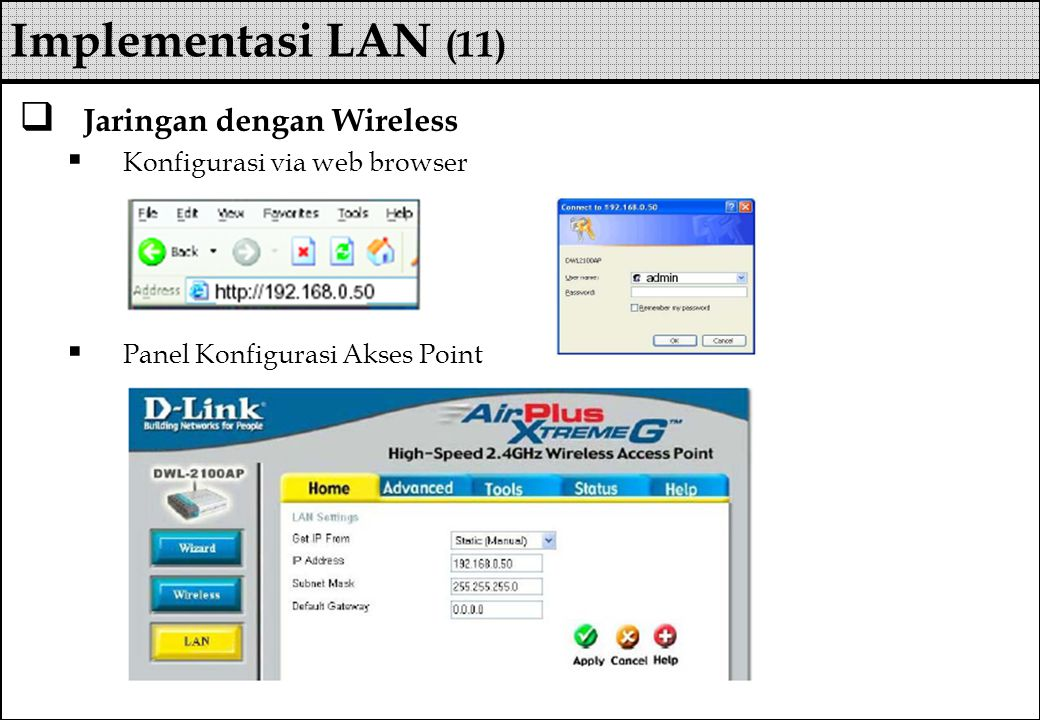  Jaringan dengan Wireless  Konfigurasi via web browser  Panel Konfigurasi Akses Point Implementasi LAN (11)