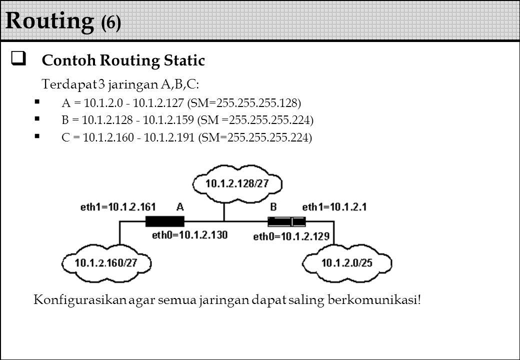  Contoh Routing Static Terdapat 3 jaringan A,B,C:  A = 10.1.2.0 - 10.1.2.127 (SM=255.255.255.128)  B = 10.1.2.128 - 10.1.2.159 (SM =255.255.255.224