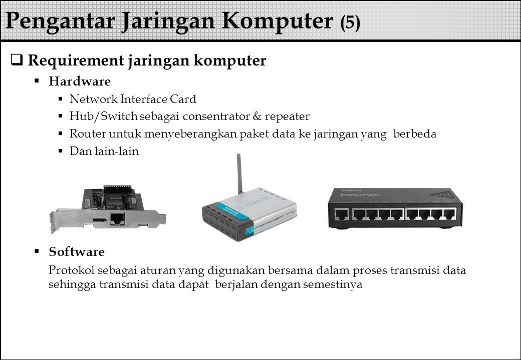  Requirement jaringan komputer  Hardware  Network Interface Card  Hub/Switch sebagai consentrator & repeater  Router untuk menyeberangkan paket d