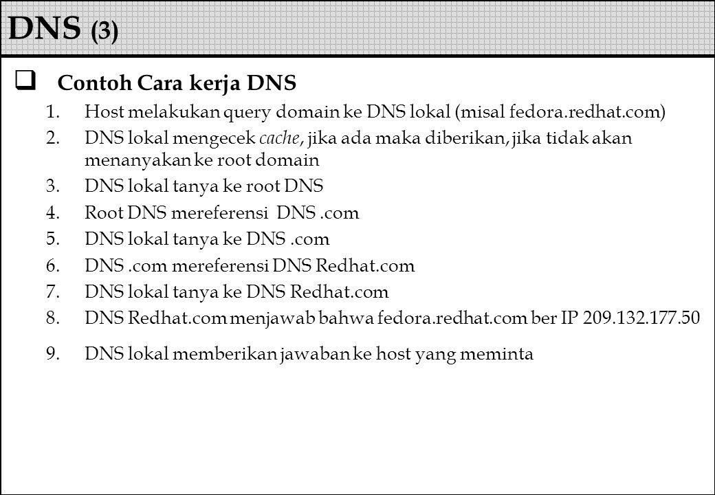 Contoh Cara kerja DNS 1.Host melakukan query domain ke DNS lokal (misal fedora.redhat.com) 2.DNS lokal mengecek cache, jika ada maka diberikan, jika