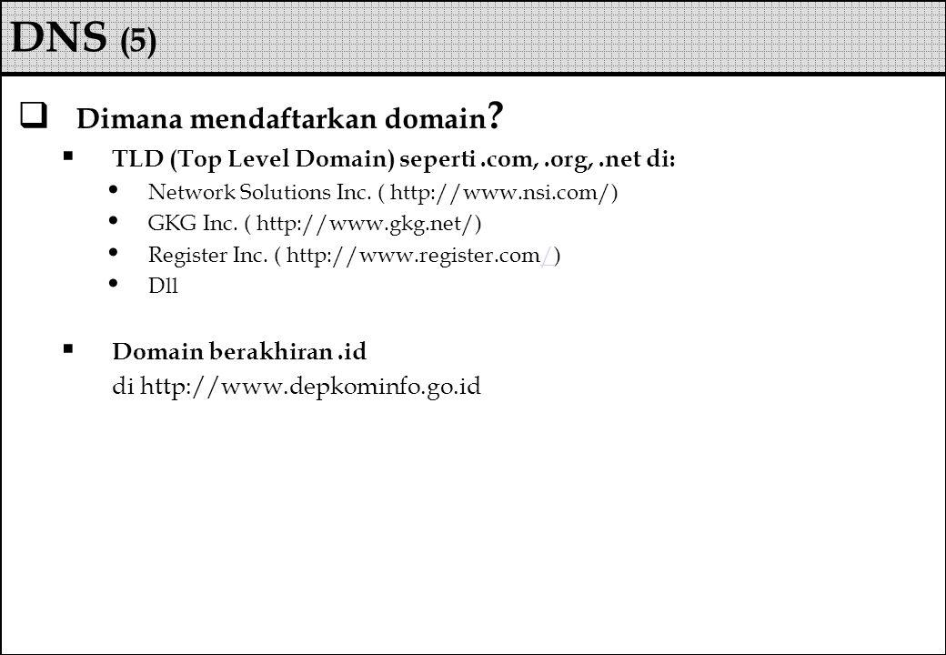  Dimana mendaftarkan domain ?  TLD (Top Level Domain) seperti.com,.org,.net di: Network Solutions Inc. ( http://www.nsi.com/) GKG Inc. ( http://www.
