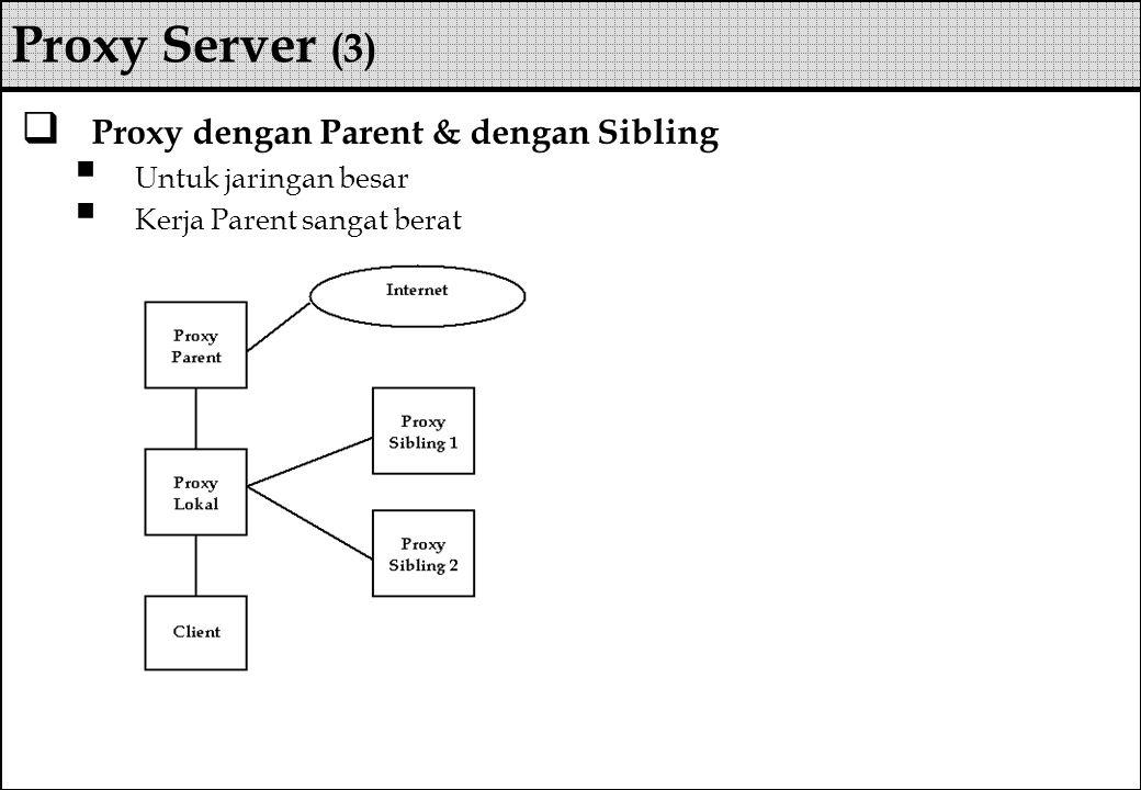  Proxy dengan Parent & dengan Sibling  Untuk jaringan besar  Kerja Parent sangat berat Proxy Server (3)