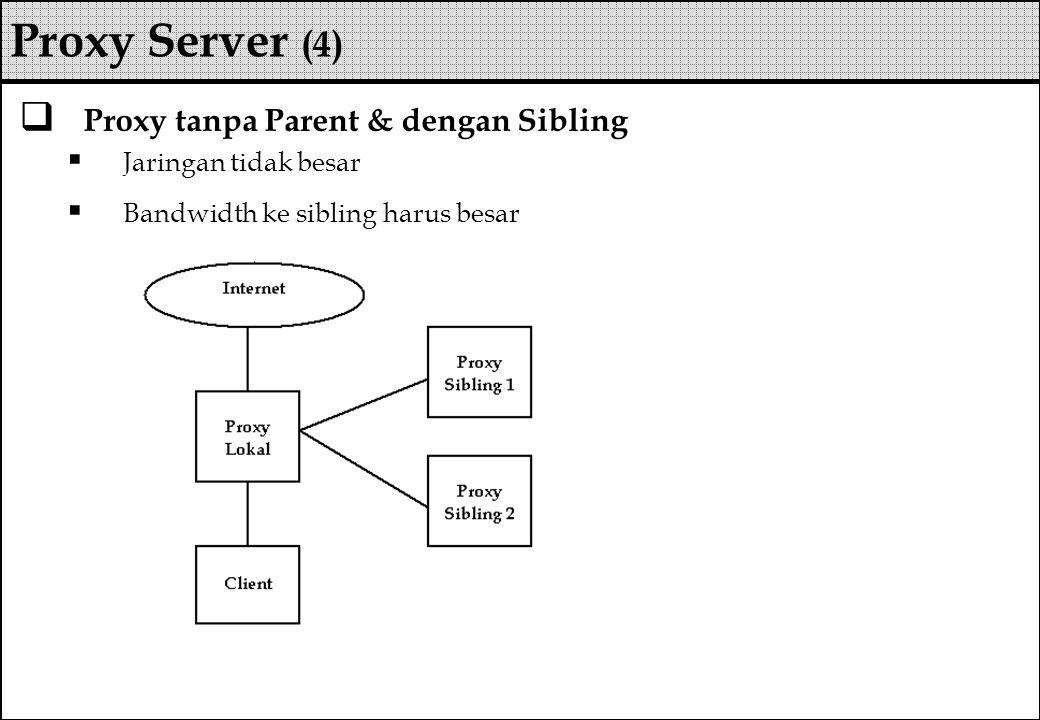  Proxy tanpa Parent & dengan Sibling  Jaringan tidak besar  Bandwidth ke sibling harus besar Proxy Server (4)