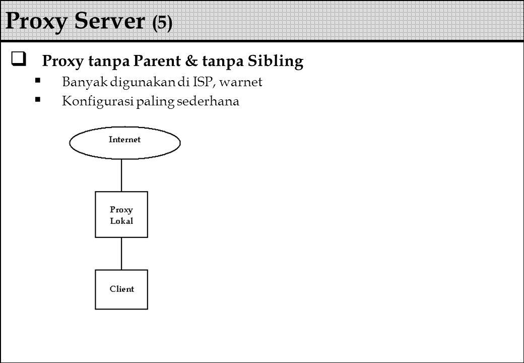 Proxy tanpa Parent & tanpa Sibling  Banyak digunakan di ISP, warnet  Konfigurasi paling sederhana Proxy Server (5)
