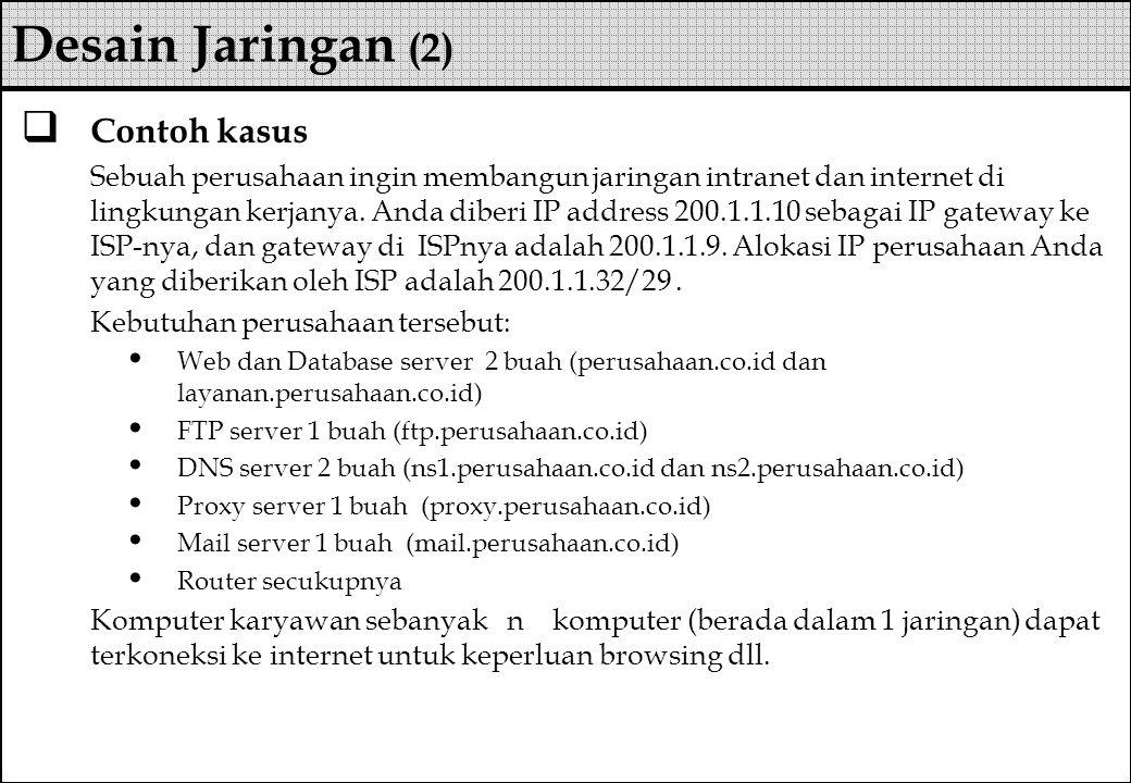  Contoh kasus Sebuah perusahaan ingin membangun jaringan intranet dan internet di lingkungan kerjanya. Anda diberi IP address 200.1.1.10 sebagai IP g
