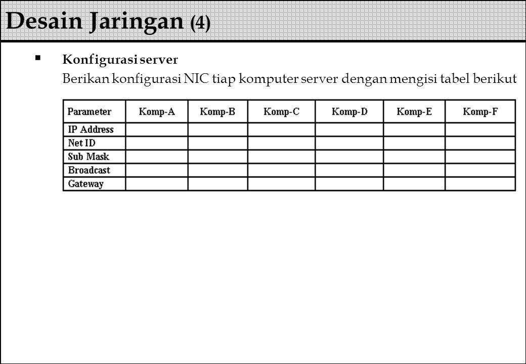  Konfigurasi server Berikan konfigurasi NIC tiap komputer server dengan mengisi tabel berikut Desain Jaringan (4)