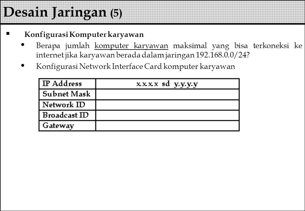  Konfigurasi Komputer karyawan Berapa jumlah komputer karyawan maksimal yang bisa terkoneksi ke internet jika karyawan berada dalam jaringan 192.168.