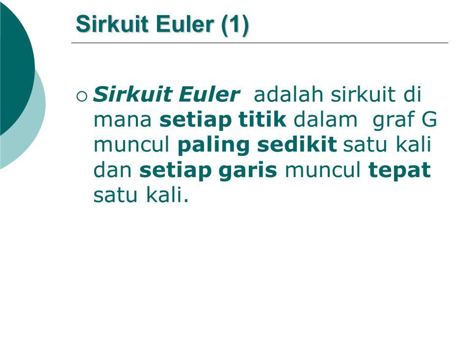 Sirkuit Euler (1)  Sirkuit Euler adalah sirkuit di mana setiap titik dalam graf G muncul paling sedikit satu kali dan setiap garis muncul tepat satu