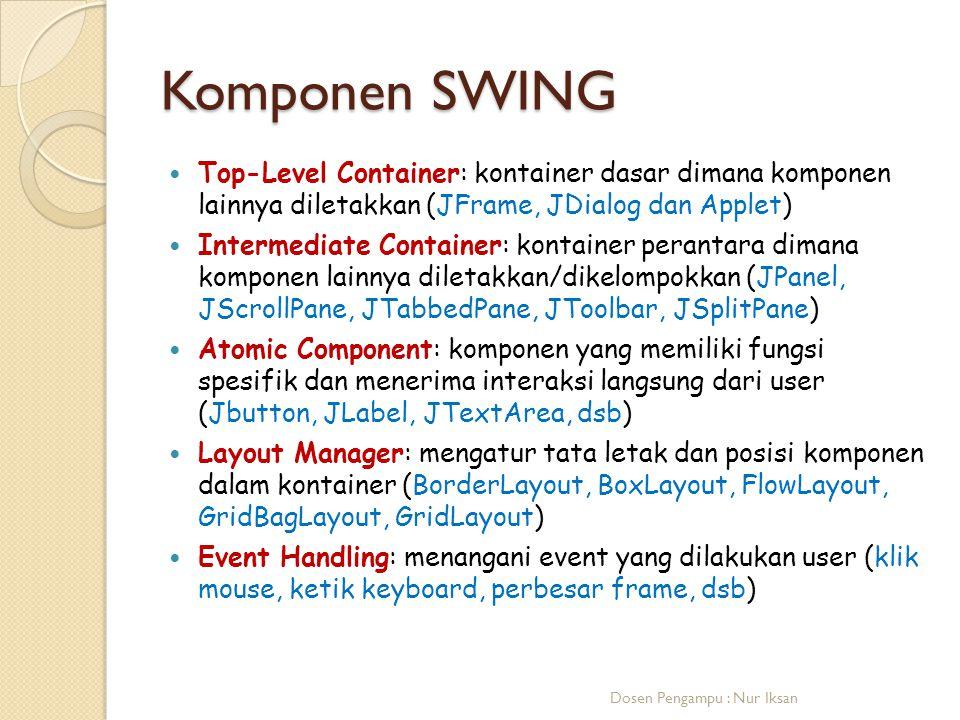 Komponen SWING Top-Level Container: kontainer dasar dimana komponen lainnya diletakkan (JFrame, JDialog dan Applet) Intermediate Container: kontainer