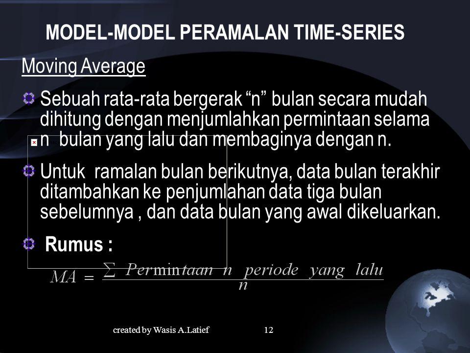 MODEL-MODEL PERAMALAN TIME-SERIES Moving Average Sebuah rata-rata bergerak n bulan secara mudah dihitung dengan menjumlahkan permintaan selama n bulan yang lalu dan membaginya dengan n.