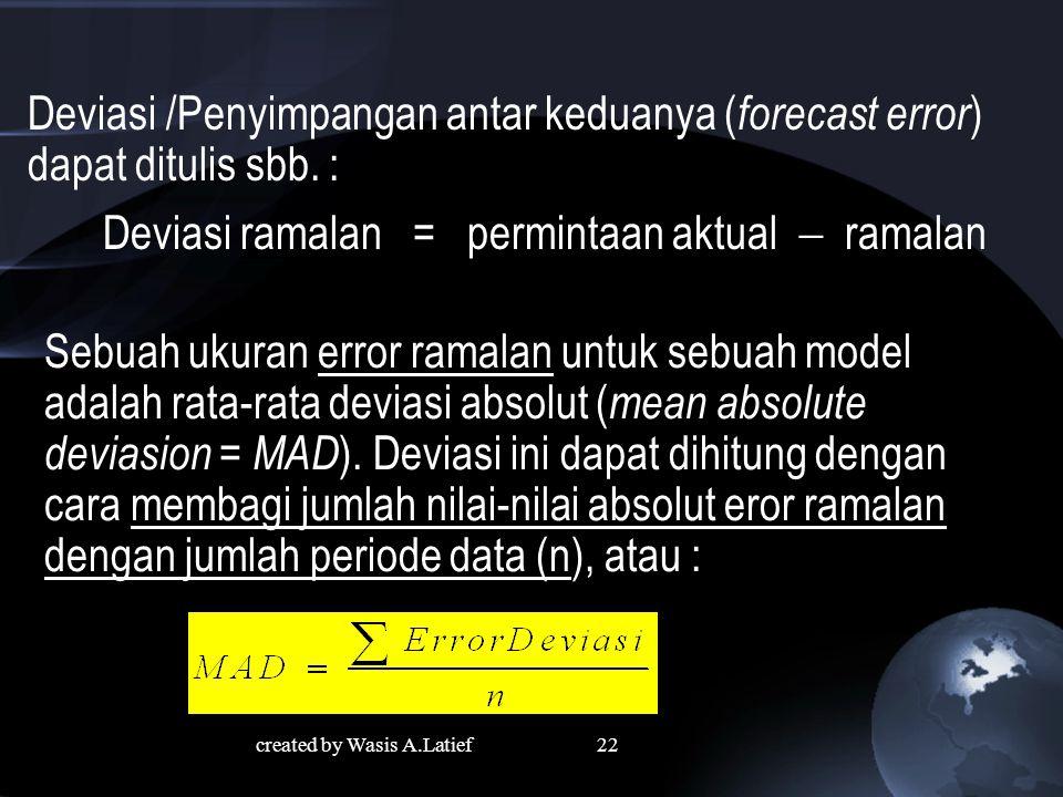 22 Deviasi /Penyimpangan antar keduanya ( forecast error ) dapat ditulis sbb.