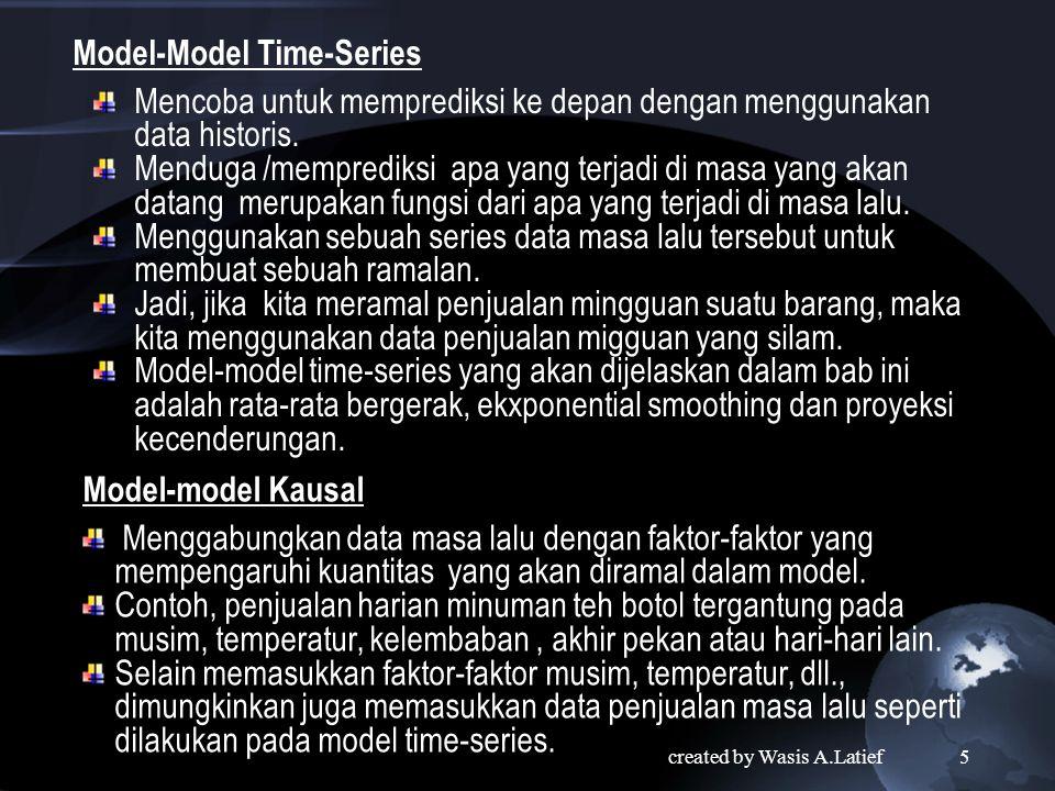 tipe -tipe peramalan Model-Model Kualitatif Mencoba menggabungkan pendapat (faktor-faktor subjektif) ke dalam model, misalnya, opini dari para ahli, pengalaman individu.