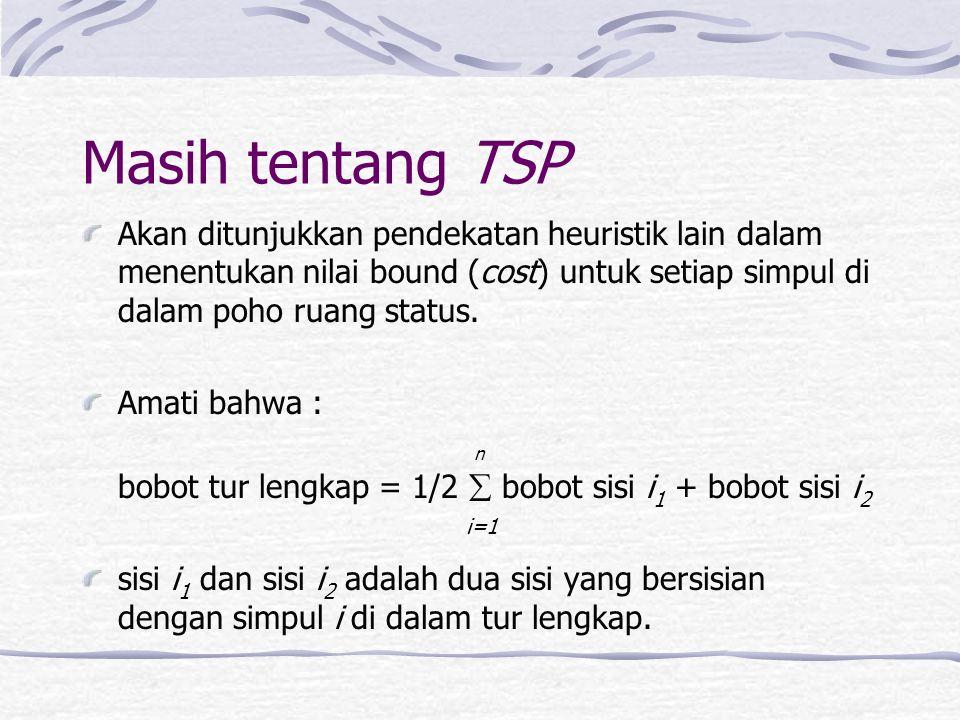 Masih tentang TSP Akan ditunjukkan pendekatan heuristik lain dalam menentukan nilai bound (cost) untuk setiap simpul di dalam poho ruang status. Amati