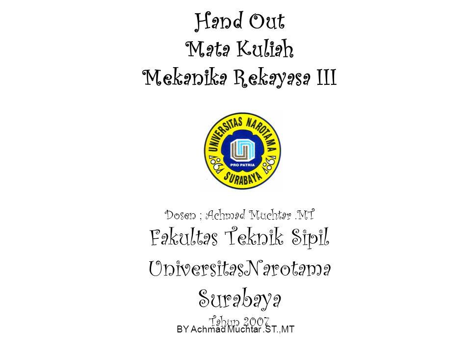 BY Achmad Muchtar.ST.,MT Hand Out Mata Kuliah Mekanika Rekayasa III Dosen ; Achmad Muchtar.MT Fakultas Teknik Sipil UniversitasNarotama Surabaya Tahun