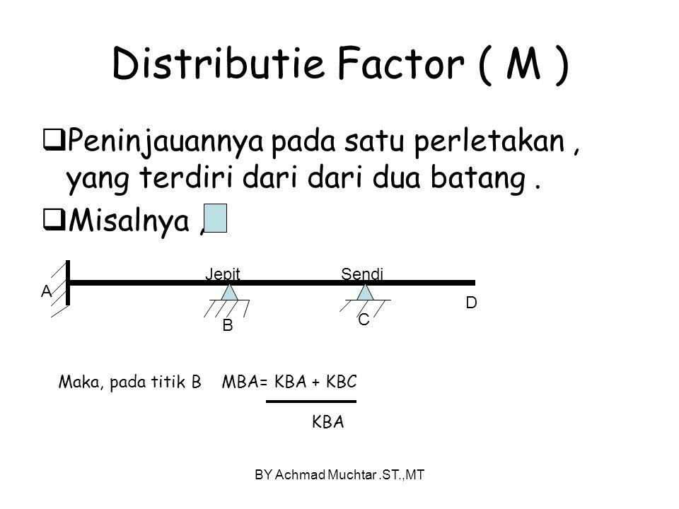 BY Achmad Muchtar.ST.,MT Distributie Factor ( M )  Peninjauannya pada satu perletakan, yang terdiri dari dari dua batang.  Misalnya, A B C D JepitSe