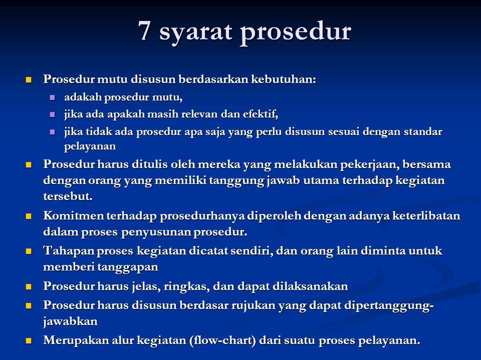 Prosedur mutu Prosedur mutu adalah gambaran umum untuk karyawan tentang cara kerja yang dilakukan yang dapat dipakai sebagai pegangan dalam bekerja, b