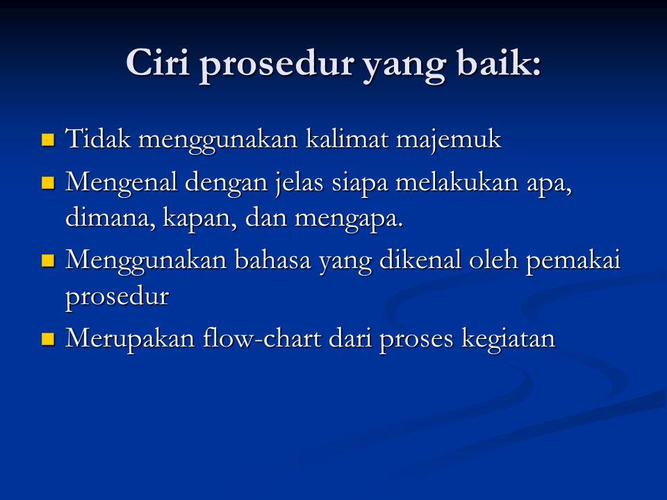 Perhatikan dlm penyusunan prosedur: Siapa yang menulis prosedur ? Siapa yang menulis prosedur ? Bagaimana prosedur tersebut direncanakan dan akan dike
