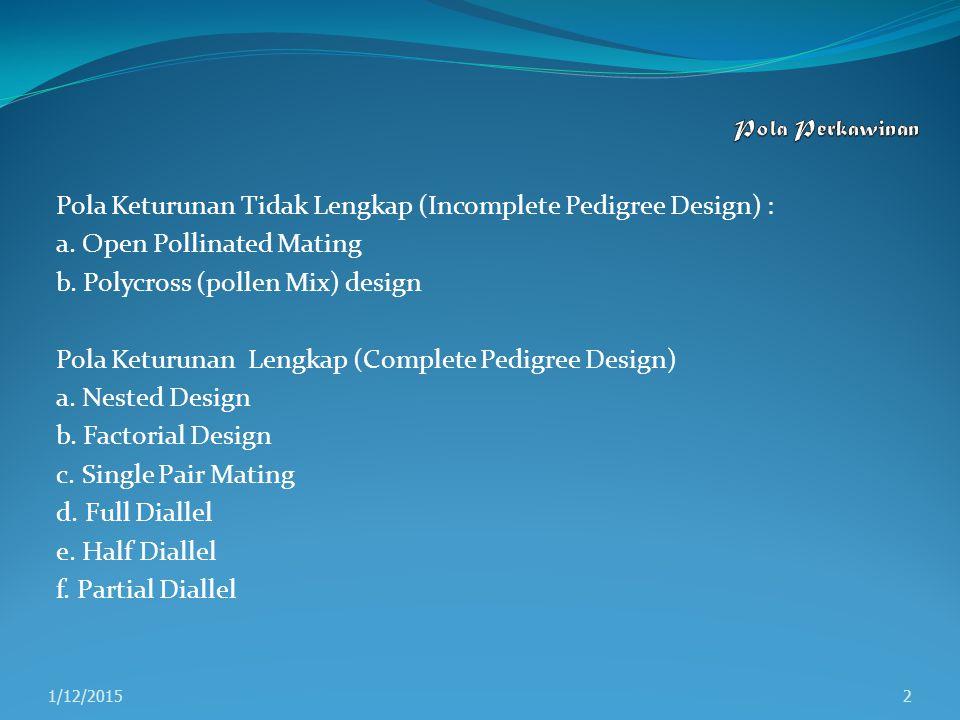 Pola Keturunan Tidak Lengkap (Incomplete Pedigree Design) : a. Open Pollinated Mating b. Polycross (pollen Mix) design Pola Keturunan Lengkap (Complet