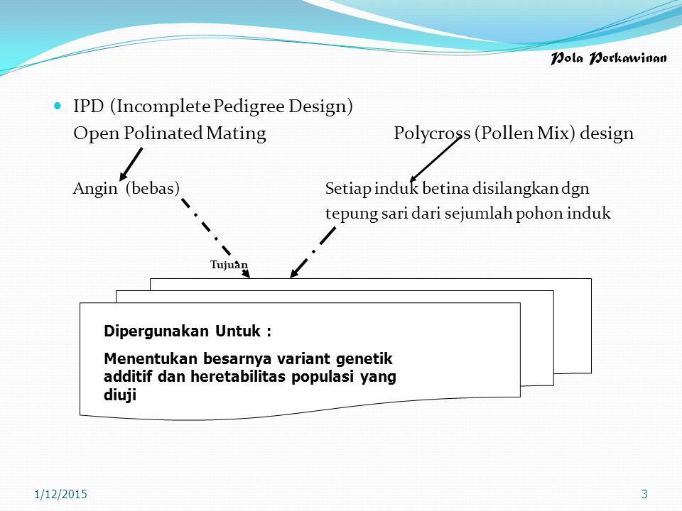 Pola Perkawinan IPD (Incomplete Pedigree Design) Open Polinated MatingPolycross (Pollen Mix) design Angin (bebas)Setiap induk betina disilangkan dgn t