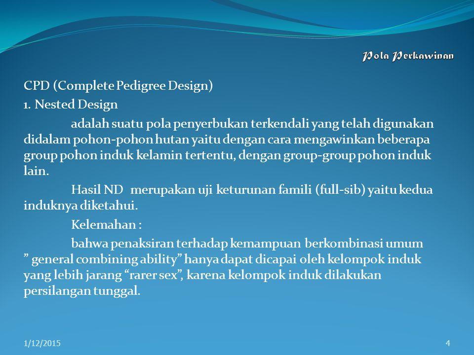 CPD (Complete Pedigree Design) 1. Nested Design adalah suatu pola penyerbukan terkendali yang telah digunakan didalam pohon-pohon hutan yaitu dengan c