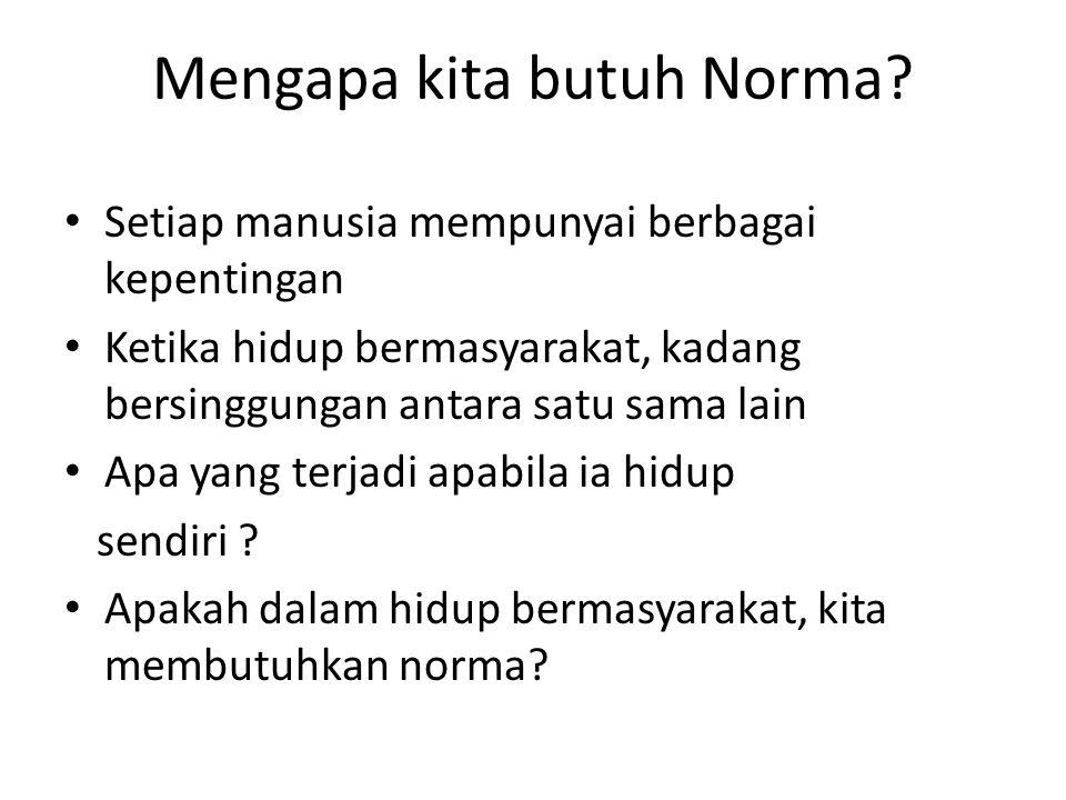 Mengapa kita butuh Norma? Setiap manusia mempunyai berbagai kepentingan Ketika hidup bermasyarakat, kadang bersinggungan antara satu sama lain Apa yan