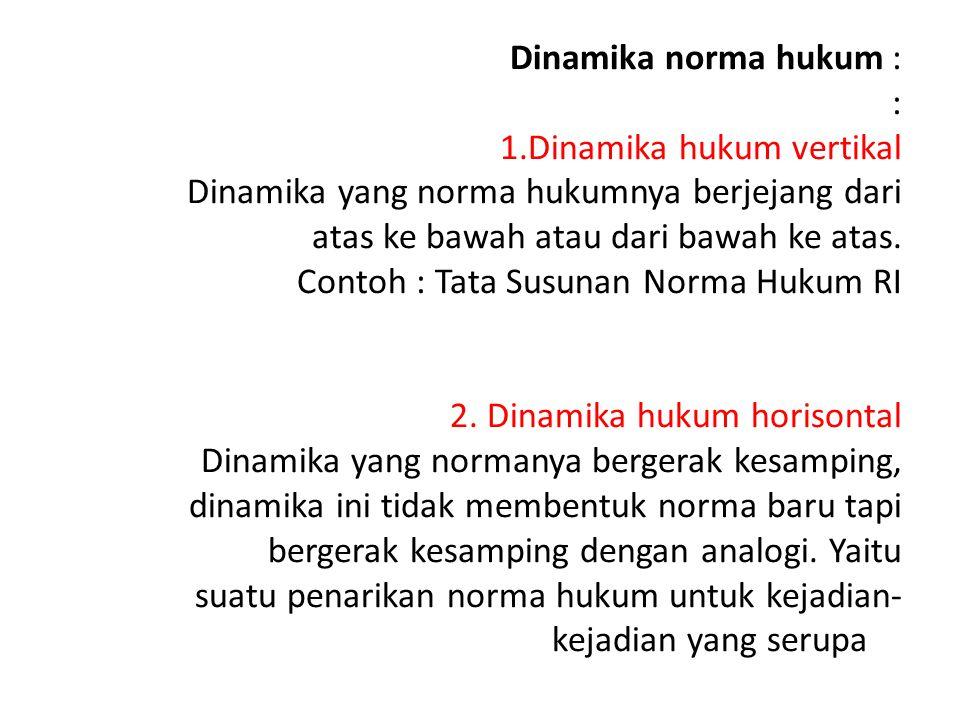 Dinamika norma hukum : : 1.Dinamika hukum vertikal Dinamika yang norma hukumnya berjejang dari atas ke bawah atau dari bawah ke atas. Contoh : Tata Su