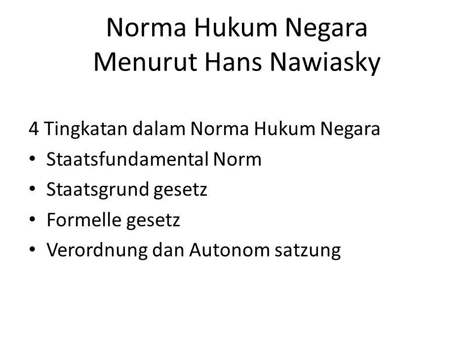 Norma Hukum Negara Menurut Hans Nawiasky 4 Tingkatan dalam Norma Hukum Negara Staatsfundamental Norm Staatsgrund gesetz Formelle gesetz Verordnung dan Autonom satzung