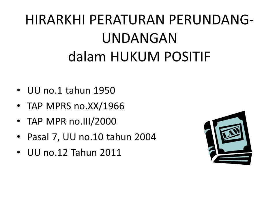 HIRARKHI PERATURAN PERUNDANG- UNDANGAN dalam HUKUM POSITIF UU no.1 tahun 1950 TAP MPRS no.XX/1966 TAP MPR no.III/2000 Pasal 7, UU no.10 tahun 2004 UU no.12 Tahun 2011
