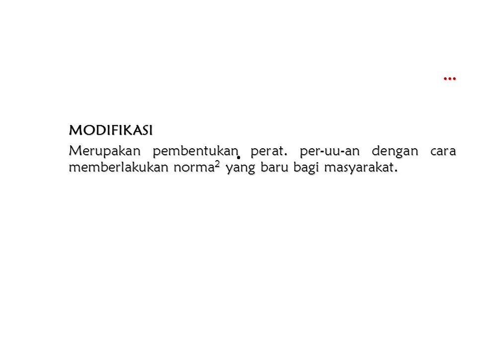 … MODIFIKASI Merupakan pembentukan perat.