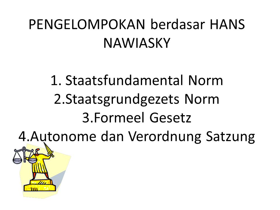 PENGELOMPOKAN berdasar HANS NAWIASKY 1. Staatsfundamental Norm 2.Staatsgrundgezets Norm 3.Formeel Gesetz 4.Autonome dan Verordnung Satzung