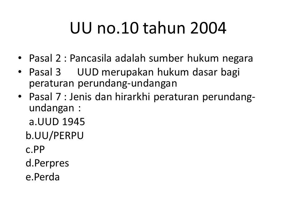 UU no.10 tahun 2004 Pasal 2 : Pancasila adalah sumber hukum negara Pasal 3UUD merupakan hukum dasar bagi peraturan perundang-undangan Pasal 7 : Jenis dan hirarkhi peraturan perundang- undangan : a.UUD 1945 b.UU/PERPU c.PP d.Perpres e.Perda