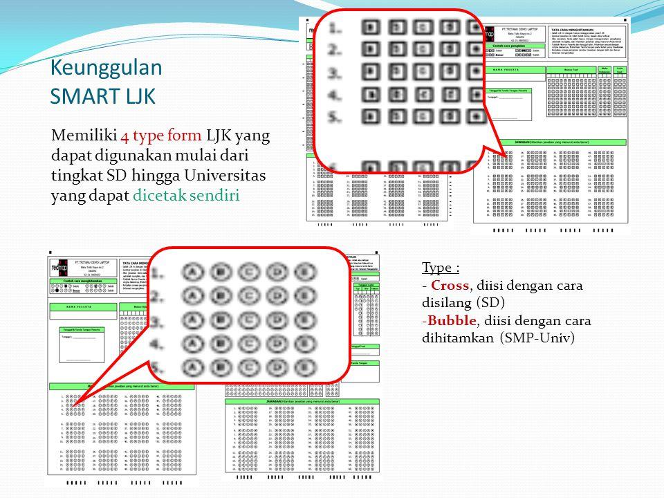 Keunggulan SMART LJK Memiliki 4 type form LJK yang dapat digunakan mulai dari tingkat SD hingga Universitas yang dapat dicetak sendiri Type : - Cross, diisi dengan cara disilang (SD) -Bubble, diisi dengan cara dihitamkan (SMP-Univ)