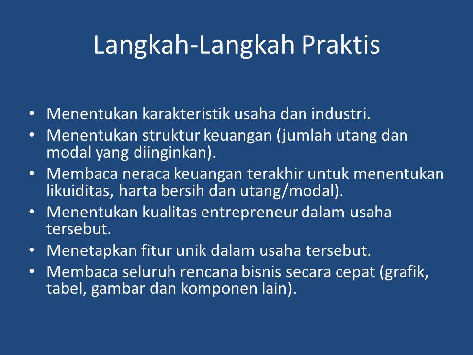 Langkah-Langkah Praktis Menentukan karakteristik usaha dan industri. Menentukan struktur keuangan (jumlah utang dan modal yang diinginkan). Membaca ne