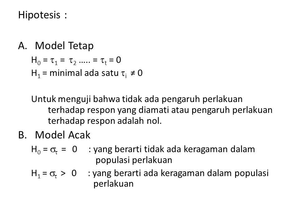 Hipotesis : A.Model Tetap H 0 =  1 =  2 ….. =  t = 0 H 1 = minimal ada satu  i ≠ 0 Untuk menguji bahwa tidak ada pengaruh perlakuan terhadap respo