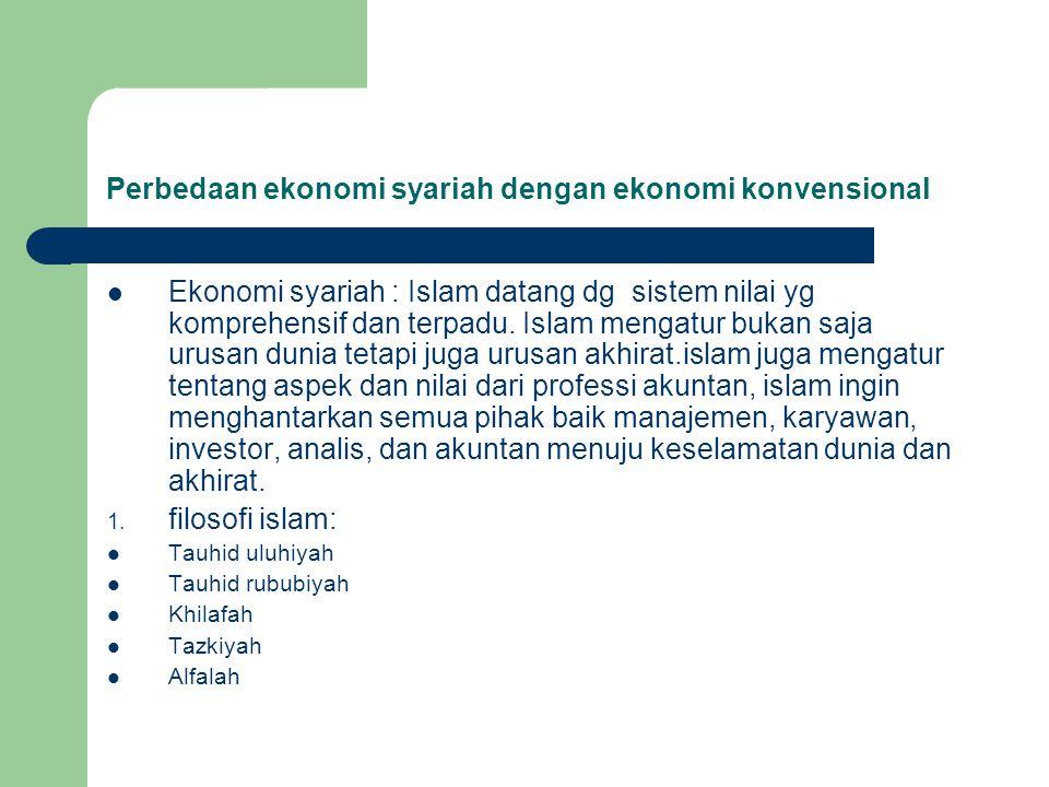 Perbedaan ekonomi syariah dengan ekonomi konvensional Ekonomi syariah : Islam datang dg sistem nilai yg komprehensif dan terpadu. Islam mengatur bukan