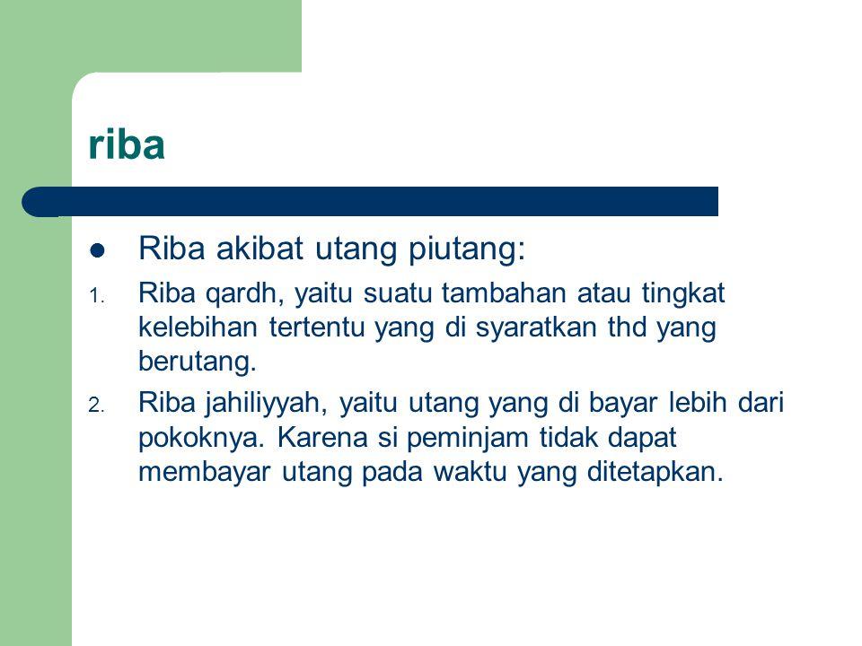 riba Riba akibat utang piutang: 1. Riba qardh, yaitu suatu tambahan atau tingkat kelebihan tertentu yang di syaratkan thd yang berutang. 2. Riba jahil