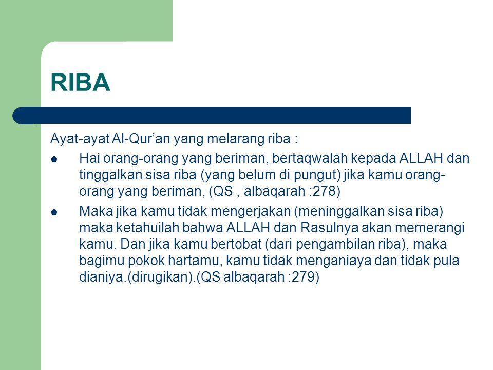 RIBA Ayat-ayat Al-Qur'an yang melarang riba : Hai orang-orang yang beriman, bertaqwalah kepada ALLAH dan tinggalkan sisa riba (yang belum di pungut) j