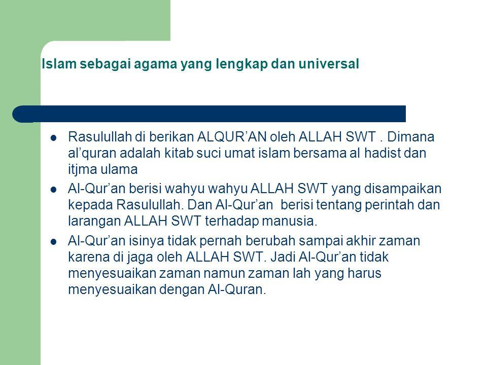 Rasulullah di berikan ALQUR'AN oleh ALLAH SWT. Dimana al'quran adalah kitab suci umat islam bersama al hadist dan itjma ulama Al-Qur'an berisi wahyu w