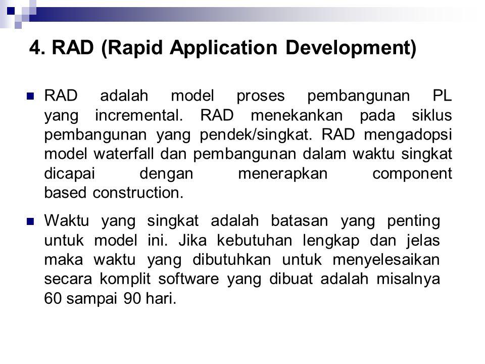 4. RAD (Rapid Application Development) RAD adalah model proses pembangunan PL yang incremental. RAD menekankan pada siklus pembangunan yang pendek/sin