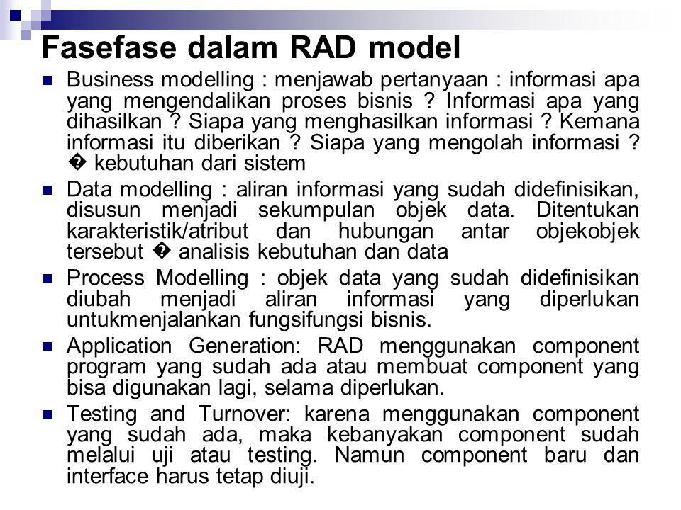 Fasefase dalam RAD model Business modelling : menjawab pertanyaan : informasi apa yang mengendalikan proses bisnis ? Informasi apa yang dihasilkan ?