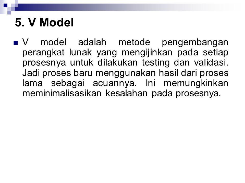 5. V Model V model adalah metode pengembangan perangkat lunak yang mengijinkan pada setiap prosesnya untuk dilakukan testing dan validasi. Jadi proses