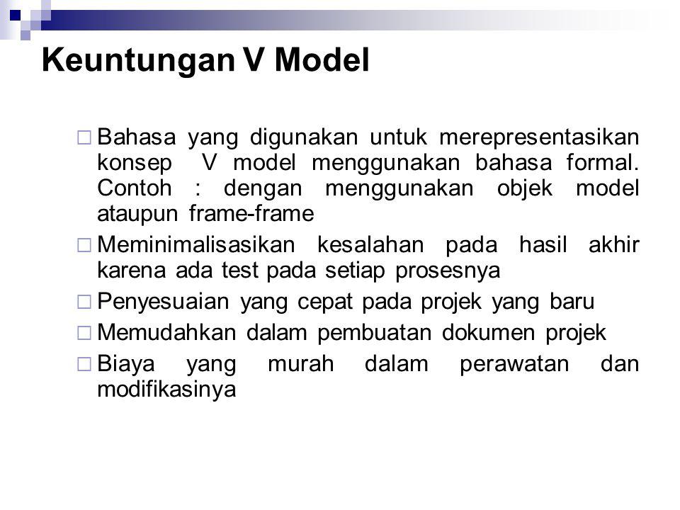 Keuntungan V Model  Bahasa yang digunakan untuk merepresentasikan konsep V model menggunakan bahasa formal. Contoh : dengan menggunakan objek model a