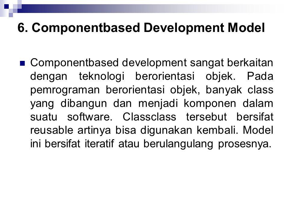 6. Componentbased Development Model Componentbased development sangat berkaitan dengan teknologi berorientasi objek. Pada pemrograman berorientasi o