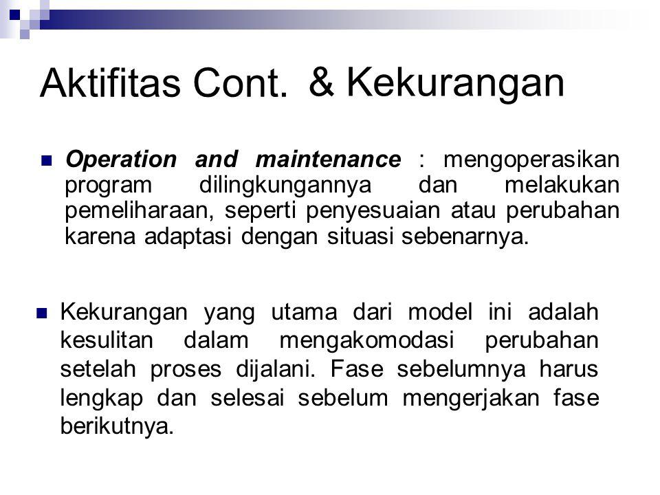 Aktifitas Cont. Operation and maintenance : mengoperasikan program dilingkungannya dan melakukan pemeliharaan, seperti penyesuaian atau perubahan kare