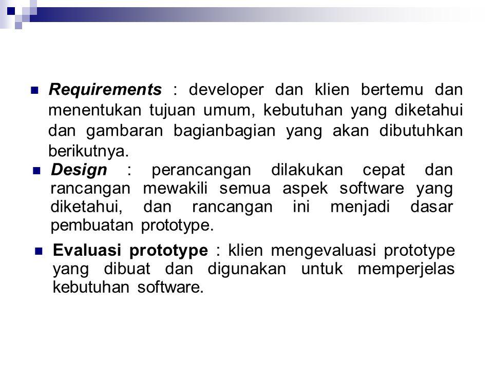 Requirements : developer dan klien bertemu dan menentukan tujuan umum, kebutuhan yang diketahui dan gambaran bagianbagian yang akan dibutuhkan beriku