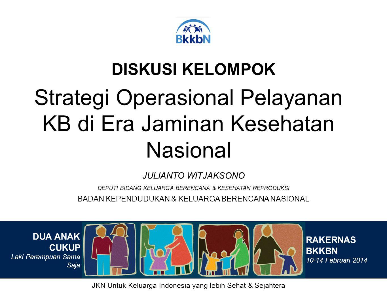 DISKUSI KELOMPOK Strategi Operasional Pelayanan KB di Era Jaminan Kesehatan Nasional BADAN KEPENDUDUKAN & KELUARGA BERENCANA NASIONAL JULIANTO WITJAKS