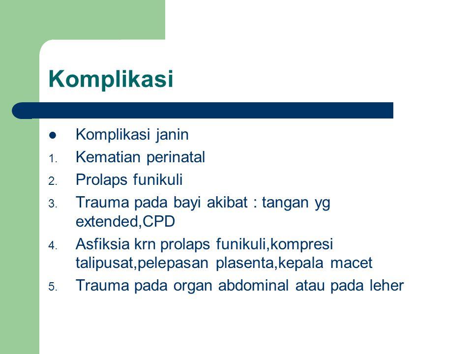 Komplikasi Komplikasi janin 1. Kematian perinatal 2. Prolaps funikuli 3. Trauma pada bayi akibat : tangan yg extended,CPD 4. Asfiksia krn prolaps funi