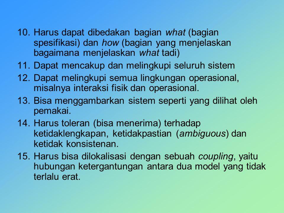 10.Harus dapat dibedakan bagian what (bagian spesifikasi) dan how (bagian yang menjelaskan bagaimana menjelaskan what tadi) 11.Dapat mencakup dan meli